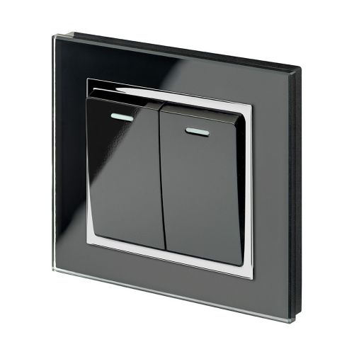 RetroTouch 2 Gang 1 Way 10A Pulse/Retractive Light Switch Black Glass CT 00223